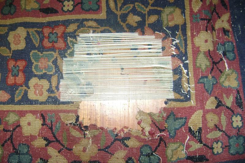 Début de réparation du tapis